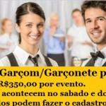 Contrato profissionais para eventos: Garçons e Garçonetes para finais de semana.