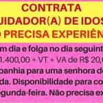 PRECISO COM URGÊNCIA: CUIDADOR (A) DE IDOSA