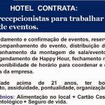 Hotel contrata para inicio imediato – SEIS RECEPCIONISTAS PARA FESTA DE FORMATURA.