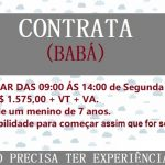 CONTRATA – SE BABÁ –  Segunda á Sexta. Salário R$1.575,00